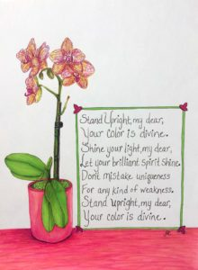 Laura's Creative Cottage orchids with poem. Writing, illustration.