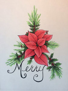 Laura's Creative Cottage. Merry Christmas Poinsettia. Illustration. Christmas card.