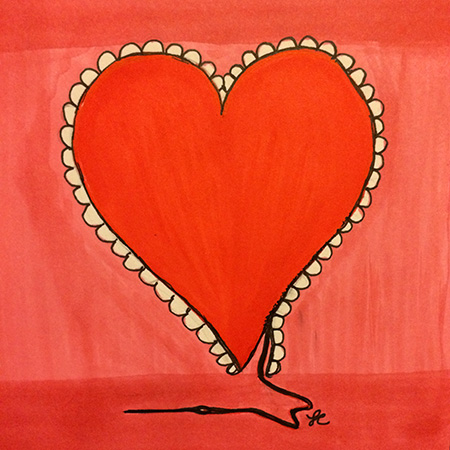Laura Chalk. Laura's Creative Cottage. Wiser heart. Mixed media illustration.